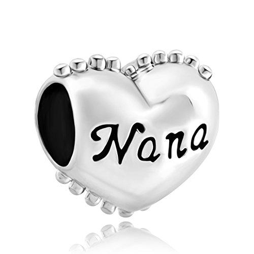 """Corazón con frase """"You are special Nana"""". Las cuentas encajan con las pulseras de regalo de Pandora y Chamilia Charms. Fabricado por Uniqueen."""