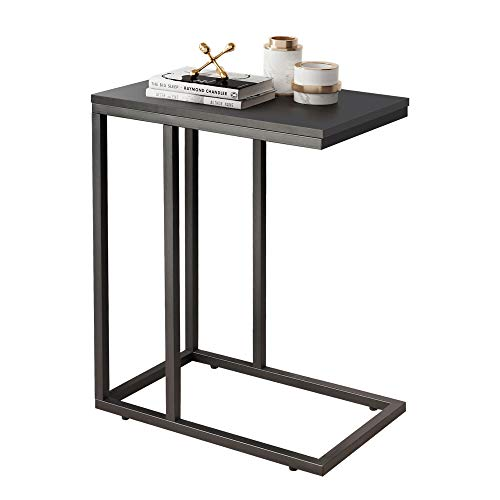 WLIVE Snack Side Table, C Shaped End Table for Sofa Couch and Bed, Black