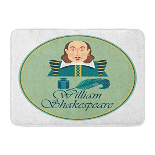 Alfombra de baño Libros Blanco Shakespeare Retrato de William Shakepeare con Tintero...