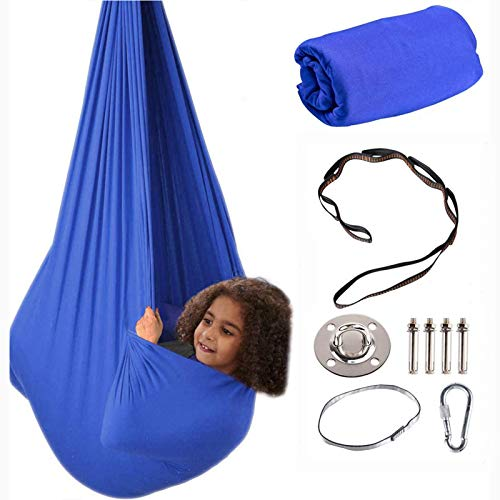 Therapy Swing for Kids with Special Needs Hardware Included Snuggle Swing Cuddle Hammock Indoor Adjustable Aerial Yoga for Children with Autism ADHD Aspergers Sensory IntegrationBlue