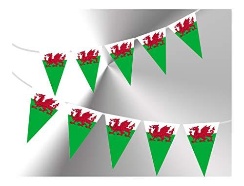 PARTY DECOR Wimpelkette mit 15 Flaggen von Wales, mit Y-Ddraig Goch Roter Drache für garantiert einfache stilvolle Party-Dekoration