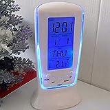 KGJQ Fashion LED Digital Alarm Clock with Blue Backlight Electronic Calendar Thermometer Gift Home Living Room Bedroom Decor