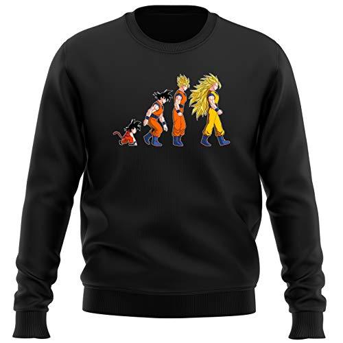 Okiwoki Pull Noir Parodie Dragon Ball Z - DBZ - Sangoku Super Saiyajin - La Théorie de l'évolution : (Sweatshirt de qualité Premium de Taille L - imprimé en France)