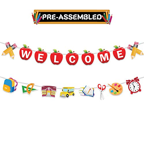 Welcome Banner Decorations - Welcome Garland Banner - Back to School Decorations Party Supplies - Welcome First Day of School Classroom Office Hanging Decor