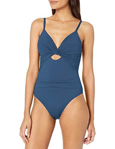 La Blanca Women's Island Goddess Twist Front Keyhole One Piece Swimsuit, Blue Moon, 12