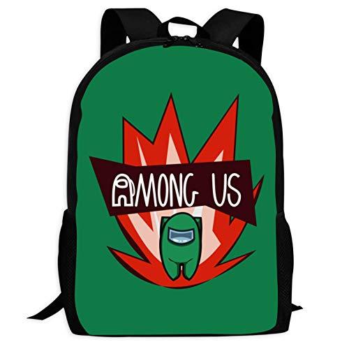 Among Us Green Backpack Lightweight School Travel Bags Waterproof Shoulder Backpacks for Boys Girls