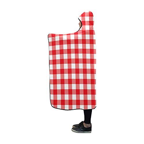 YXUAOQ Mit Kapuze Decke rot weiß überprüft Tischdecke Decke 60 x 50 Zoll Comfotable Hooded Throw Wrap