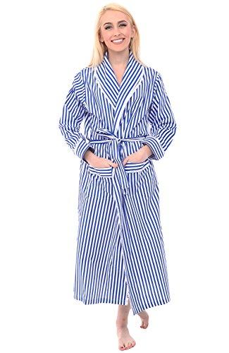 Alexander Del Rossa Women's Lightweight Cotton Kimono Robe, Summer Bathrobe, 2XL Blue and White Striped (A0515V102X)