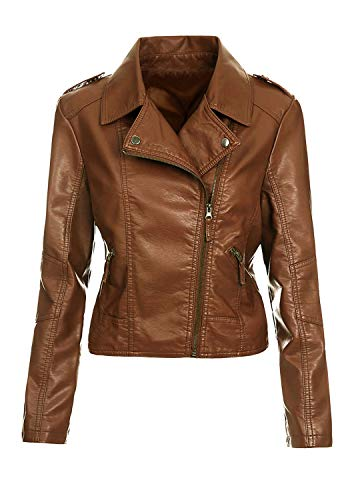 Artfasion Womens Slim Tailoring Faux Leather PU Short Jacket Coat Moto Biker Jacket (CT22-brown, X-Small)