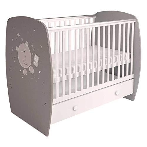 Polini Kids Babybett Gitterbett mit einer Schublade, 120 x 60 cm in Grau-Weiß mit Teddy-Motiv aus massivem Birkenholz und hochwertigen MFC- Spanplatten