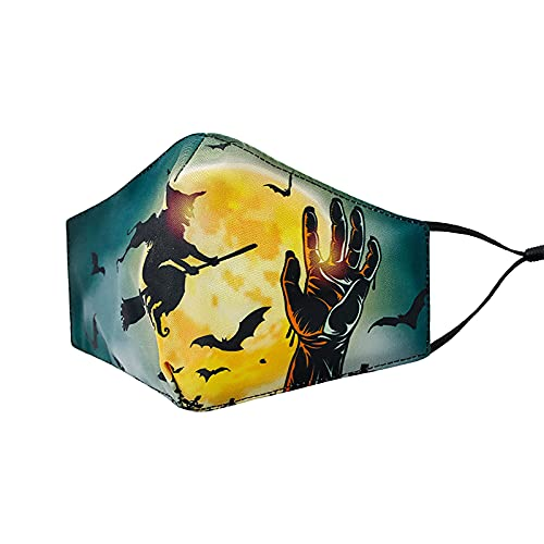 Zldhxyf Masque de protection 3D unisexe pour homme et femme avec imprimé amusant - Bandanas pour le sport en plein air Halloween - Lavable