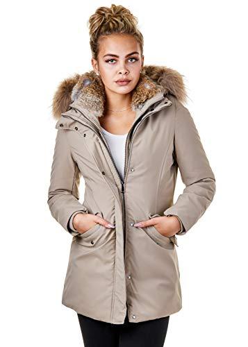 BR1837 Damen Winterjacke Echtfell Parka Jacke Schwarz Rot Rosa Creme, Größe:XL, Farbe:Beige