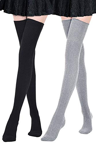 DRESHOW - Medias por encima de la rodilla con rayas largas para mujer y niña Negro y gris. Talla única