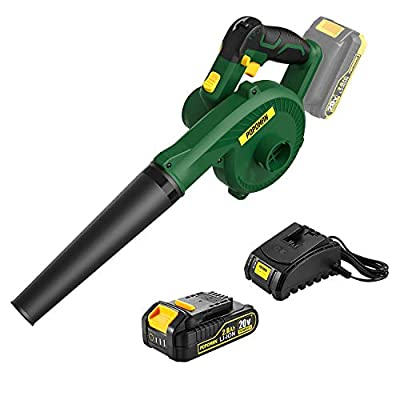 Cordless Blower, POPOMAN 20V 145MPH 2 in 1 Sweeper / Vacuum, 2.0Ah Battery & Fast Charger, 20000RPM Lightweight Blower for Blowing Dust, Small Trash, Debris, Hard to Clean Corner