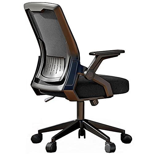Silla de oficina de malla ajustable, silla ergonómica de escritorio con función mecedora, carga máxima de 120 kg, silla giratoria de apoyo lumbar para estudio en el hogar, oficina -Black_2