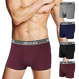 EKQ Boxers para Hombre Algodon Calzoncillos Bóxer Ropa Interior Underwear Trunk Multipack Elásticos S M L XL XXL Negro Gris Azul Marino Pack de 4