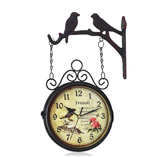 HOZ Retro Doppelseitige Wanduhr Outdoor Garten Uhr Stilvolle Uhr Zifferblatt Leise Bewegung Wasserdicht Anti-Beschlag für Innen und Außen Hängende Dekoration