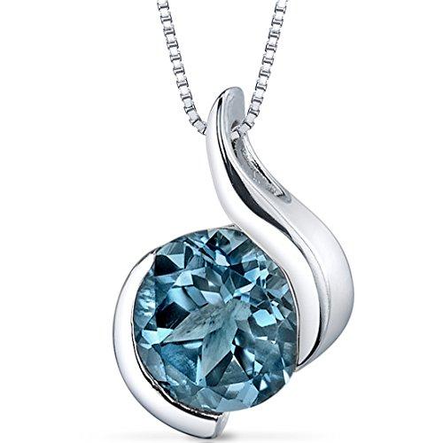 Peora London Blue Topaz Bezel Pendant Necklace Sterling...