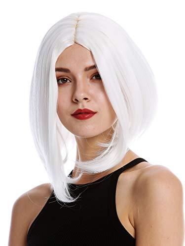WIG ME UP - YZF-4370-1001 Perruque dame cosplay courte hauteur d'épaules carré long raie centrale lisse blanc