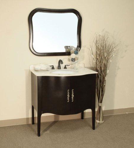 "36.6 Inch Traditional Curved Apron Single Sink Vanity (Medium Walnut) (36""H x 36.6""W x 22""D)"