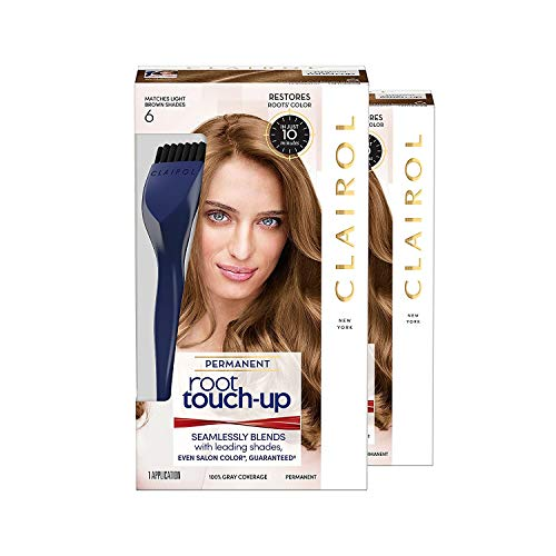 Clairol Root Touch-Up Permanent Hair Color Creme, 6 Light Brown, 2 Count Georgia
