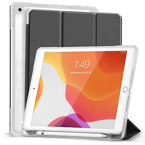 Gahwa Cover per Nuovo iPad 8a Gen 2020 / 7a Generazione 2019, iPad 10.2'' Case Ultra Sottile Leggero Custodia in Tri-fold Auto Sveglia/Sonno con Retro Trasparente Rigido con Pencil Holder - Nero