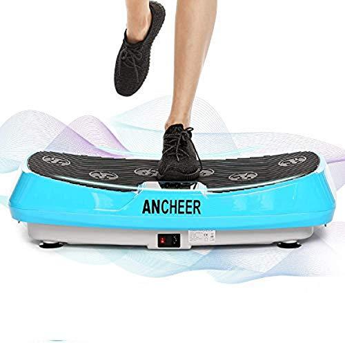 Ancheer Plataforma Vibratoria Fitness 3D Vibration | Gran Superficie Antideslizante Curvada | 2 Bandas Elásticas de Entrenamiento | Pantalla LCD (Azul 1)