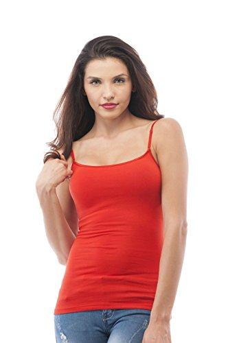 Women's Cami Camisole Built in Shelf Bra Adjustable Spaghetti Strap Tank Top Plus Size (1XL, Red)