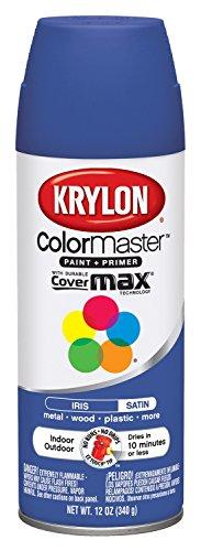 Krylon K05356807 ColorMaster Paint + Primer, Satin, Iris, 12 oz.