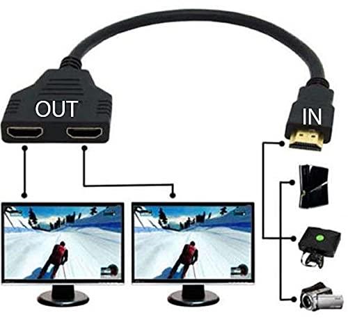 Divisor HDMI de 2 vías; 1 IN 2 out. Conecte 2 monitores o televisores. Interruptor Dual HDMI, Cable Divisor HDMI de 2 Puertos bañado en Oro. 1 IN 2 out.