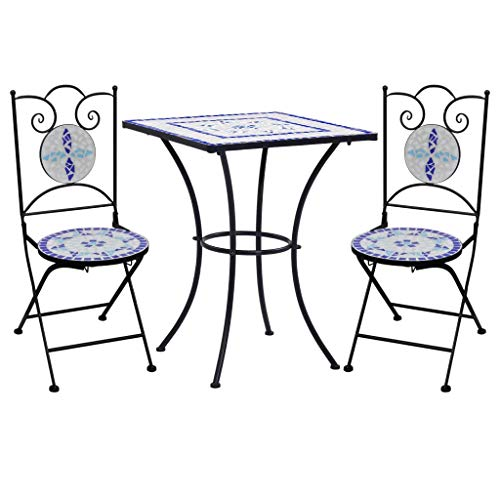 vidaXL Mesa y Sillas de Bistró 3 Piezas Mosaico CerámicaHogar Jardín Terraza Parque Bricolaje Decoración Diseño Mobiliario Muebles Azul y Blanco