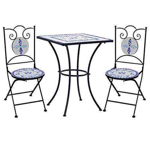 vidaXL Set Bistrò 3 pz con Mosaico Robusto Elegante Tavolo e Sedie per Esterni Arredi da Giardino Patio in Ceramica Blu e Bianco Telaio in Ferro