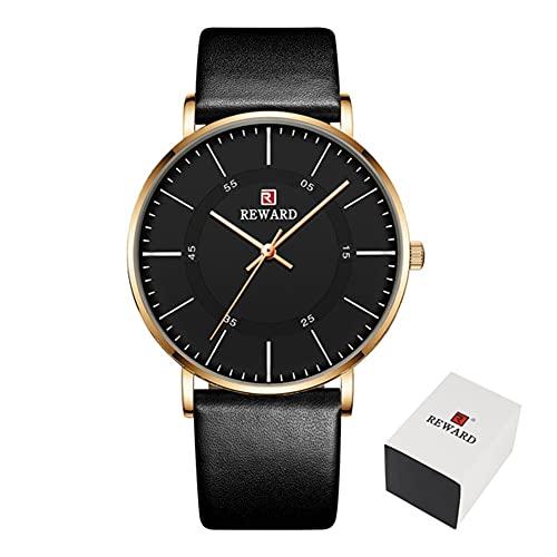 Relojes deportivos de cuarzo para hombre de moda, pantalla curvada 2.5D y esfera curva, reloj de lujo ultra delgado e impermeable para hombres reloj de pulsera CXSD (color negro y oro)