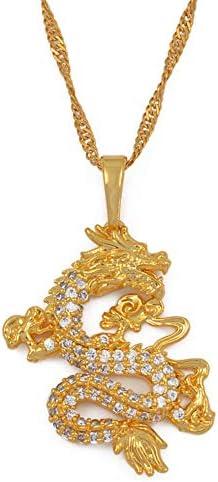 kelistom 18K Gold Plated Zircon Filled Dragon Pendant Necklace for Men Women Mascot Ornaments product image