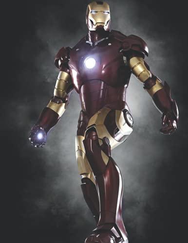 Iron Man: carnet de notes, captain america journal, bleu, papier ligné collégial,120 pages lignées ,'8.5x11'inches , cadeau pour garçon, homme et amoureux de marvel