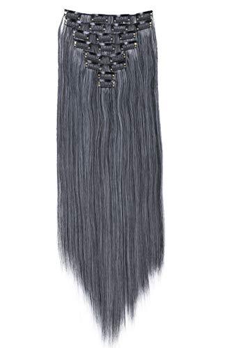 PRETTYSHOP XXL 8 pièces SET tête entière Clipser dans les extensions Extension de cheveux postiche résistant à la chaleur lisse 60 cm Ombré gris mix # 1Tgray CES17