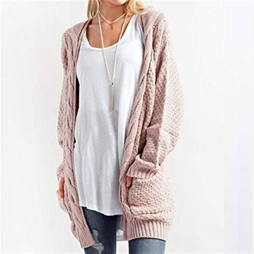 Txrh Ocio Cardigan Casual chaqueta de punto trenzado caliente de las mujeres de las mujeres extra larga suéter largo abierto aguja rompevientos (Color : Pink, Size : XXXL)