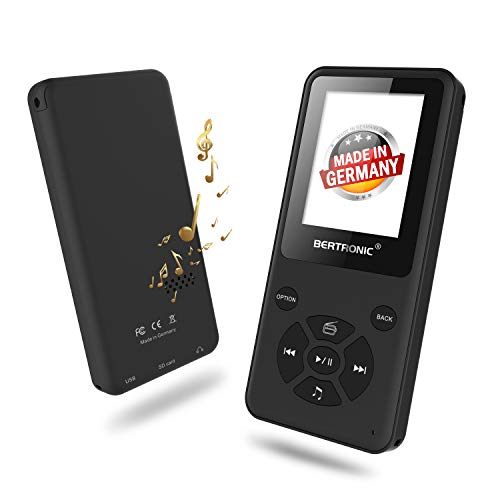 BERTRONIC Made in Germany Thor BC910-B MP3 Player Bis 80 Stunden Wiedergabe Radio | Player mit Lautsprecher & wechselbarem Akku | Audio-Player für Sport mit Micro SD-Kartenslot & Gürtelclip