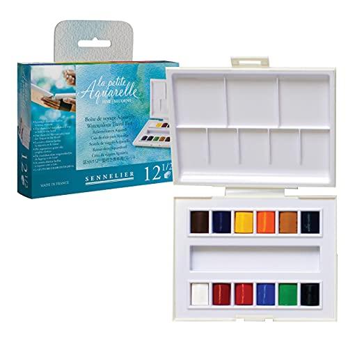Sennelier La Petite Aquarelle Watercolor Set, 12 Half Pans, Multicolor