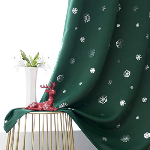 LORDTEX Snowflake Foil Print Christmas Curtains for Living Room and Bedroom - Thermal Insulated Blackout Curtains, Noise Reducing Window Drapes, 52 x 84 Inches Long, Evergreen, Set of 2 Curtain Panels