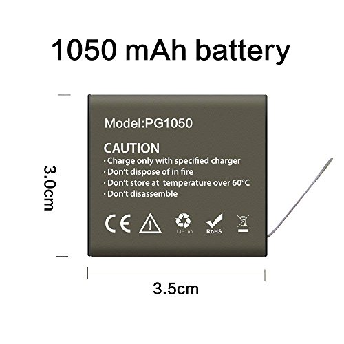 Action Camera Battery 3 x 1050mAh Rechargeable with USB Dual Charger for 4K Action Camera AKASO EK7000/Campark ACT74/ACT68/Crosstour CT7000/EKEN H9R/Geekam