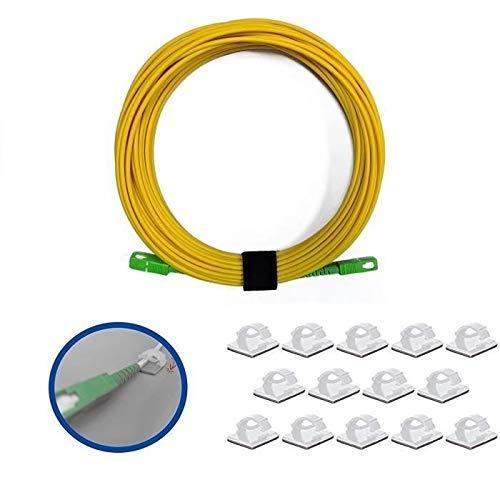 Elfcam Glasfaserkabel SC/APC auf SC/APC Monomode mit 25 Kabelclips, selbstklebend, für Orange Livebox, SFR Box Fibre und Bouygues Telecom Bbox, Gelb (10 m)