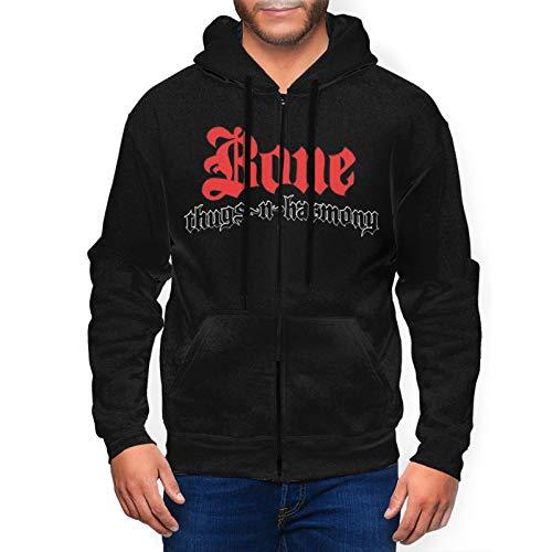 Rufischi Men's Bone Thugs N Harmony Athletic Fit Full Zip Sweatshirt Active Hoodie Jacket Black