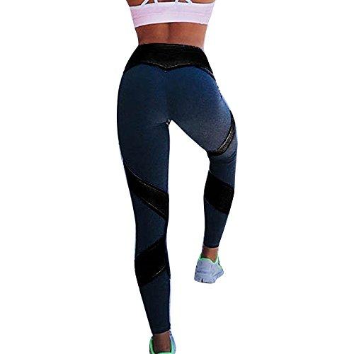 Bliefescher Damen Hohe Taille Sport Leggings Blickdichte Sporthosen Jogginghose Printed Streifen Hüfthose Strumpfhose Legginshose