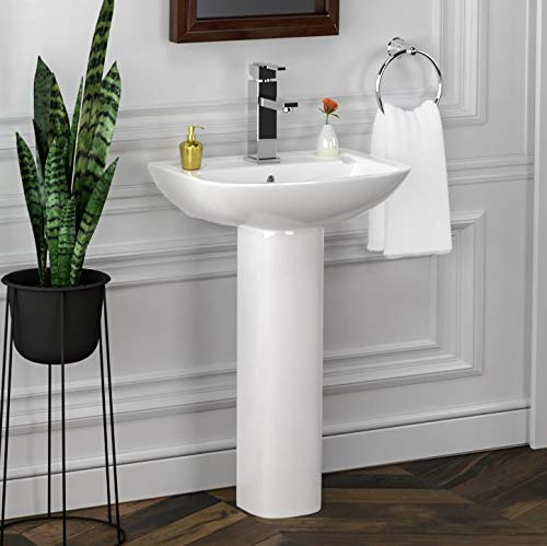Magnus Home Products Canton Vitreous China Pedestal Bathroom Sink, Single-Hole, 20 1/6