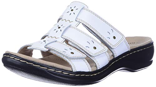 Clarks womens Leisa Spring Sandal, White Leather, 8.5 US