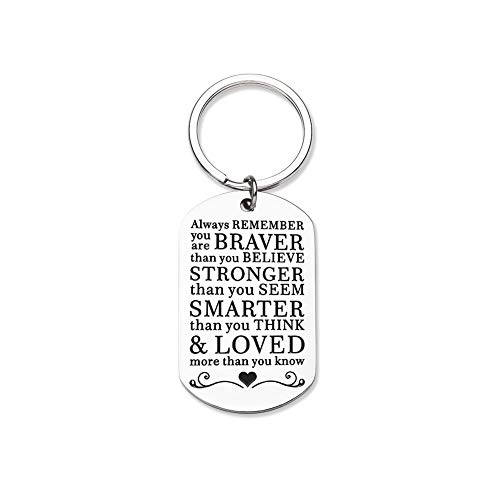 Inspirational Keychain Gifts for Women Motivational Key Chain Always Remember You are Braver Than You Believe Back to School Gifts for Son Daughter Girls Boys First Day of School Gifts