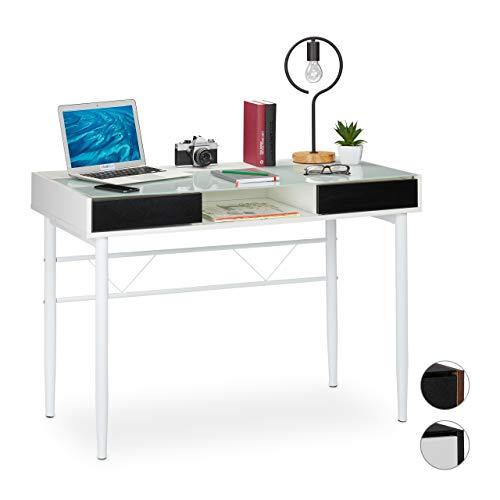 Relaxdays Schreibtisch Glas, Kabeldurchführung, Bürotisch mit Schubladen, PC Glastisch, HBT 78 x 110 x 55 cm, weiß