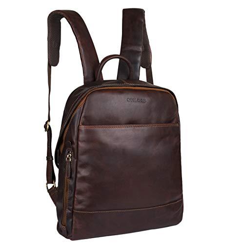 STILORD 'Marco' Uni Rucksack Leder Vintage Daypack groß für Herren Damen DIN A4 mit Laptop-Fach 13,3 Zoll ideal für Schule Business Freizeit echtes Rindsleder, Farbe:Cognac - Dunkelbraun