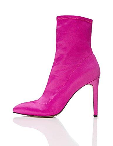 find. Stiefel Damen mit hohem Pfennigabsatz, leichtem Glanz und mittiger Naht, Pink (HOT PINK), 39 EU